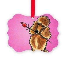Apricot Poodle Rose Pink Ornament