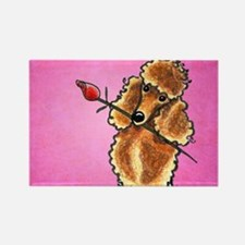 Apricot Poodle Rose Pink Rectangle Magnet