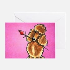 Apricot Poodle Rose Pink Greeting Card