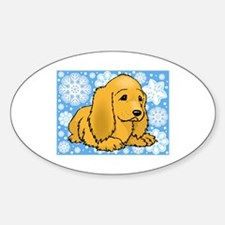 Holiday Cocker Spaniel Oval Decal