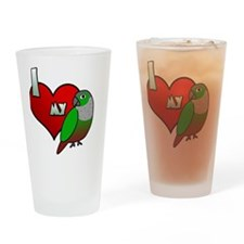 iheartmy_greencheekedconure_blk Drinking Glass