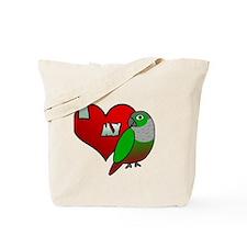 iheartmy_greencheekedconure_blk Tote Bag