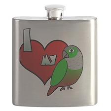 iheartmy_greencheekedconure_blk Flask
