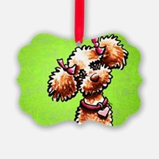Apricot Poodle Girly Green Ornament