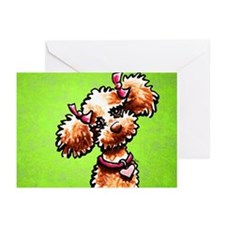Apricot Poodle Girly Green Greeting Cards (Pk of 2