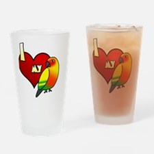 iheartmy_sunconure_blk Drinking Glass
