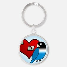 iheartmy_blackmask_blue_ornament Round Keychain
