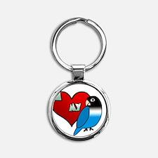 iheartmy_blackmask_blue Round Keychain