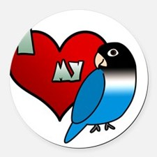iheartmy_blackmask_blue Round Car Magnet