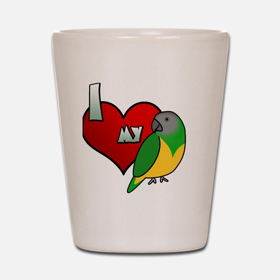 iheartmy_senegal_blk Shot Glass