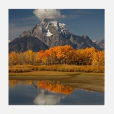 oxbow bend in fall colors Tile Coaster