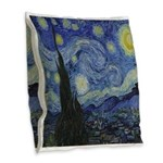 The Starry Night Burlap Throw Pillow