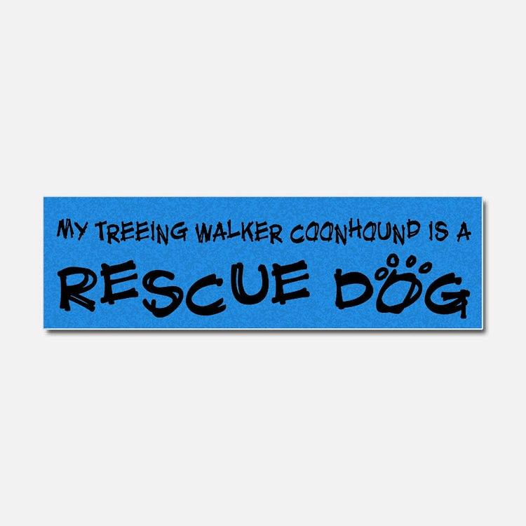 treeing_rescuedog Car Magnet 10 x 3