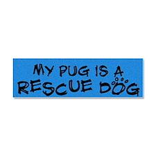 rescuedog_pug Car Magnet 10 x 3