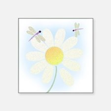 """dragonfly_wdaisy_tile Square Sticker 3"""" x 3"""""""