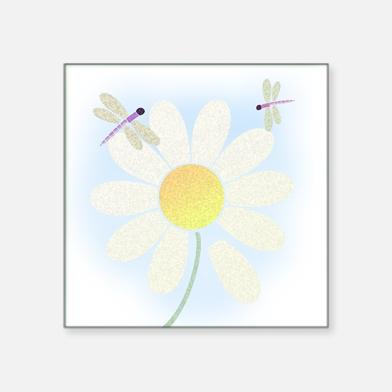 "dragonfly_wdaisy_tile Square Sticker 3"" x 3"""