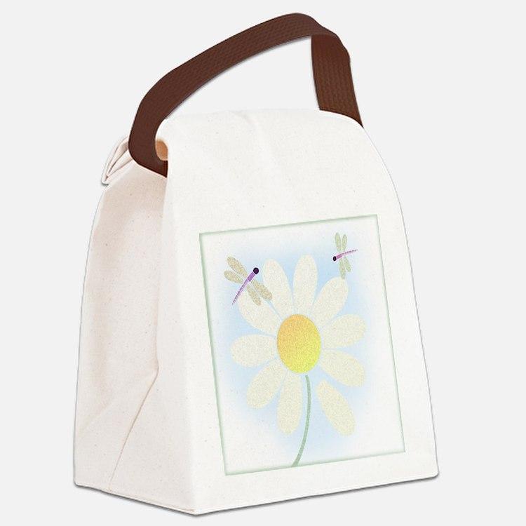 dragonfly_wdaisy_tile Canvas Lunch Bag