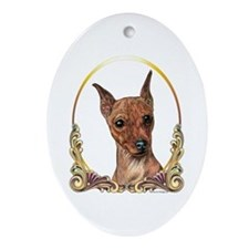 Red Min Pin Christmas/Holiday Oval Ornament