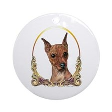 Red Min Pin Christmas/Holiday Ornament (Round)