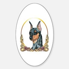 Miniature Pinscher Holiday/Xmas Oval Decal