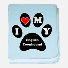 I Heart My English Coonhound baby blanket