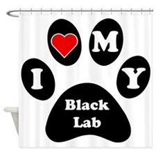 I Heart My Black Lab Shower Curtain