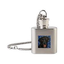 Black Labrador smile Flask Necklace