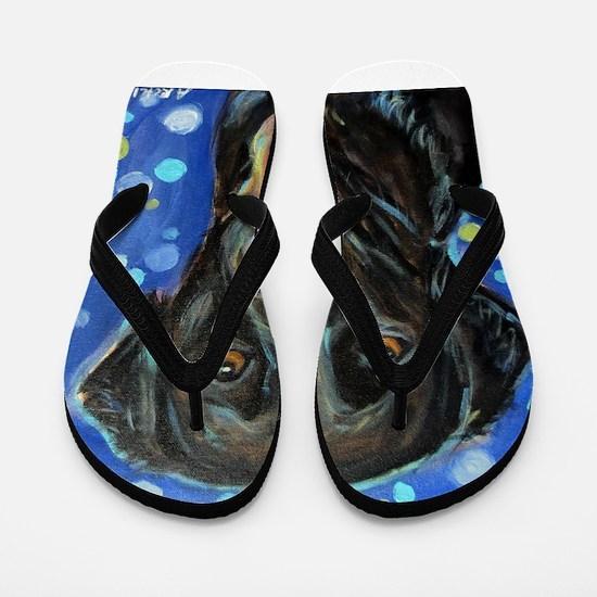 Black Labrador smile Flip Flops
