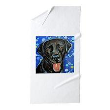 Black Labrador smile Beach Towel