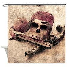 Grunge Pirate Skull Shower Curtain