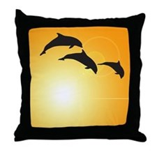 Dolphin Sunset Throw Pillow