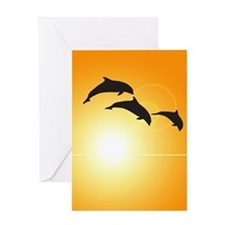 Dolphin Sunset Greeting Card
