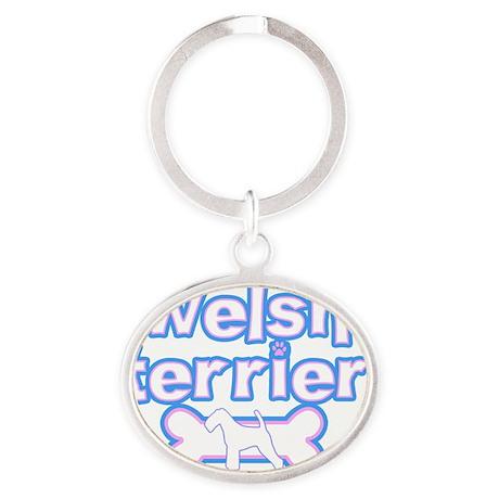 cutesy_welshterrier Oval Keychain