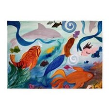 Mermaid Tropical Fish party 5'x7'Area Rug