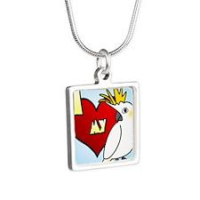 iheartmy_citron_ornament Silver Square Necklace