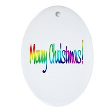 Merry Christmas Oval Ornament