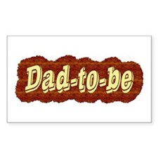 Dad-to-be (woodgrain style) Sticker (Rect.)