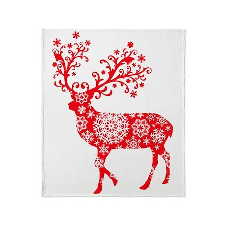 Snowflake Red Reindeer Throw Blanket