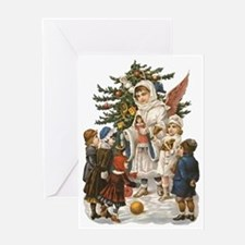 Vintage Guardian Angel with Children Greeting Card