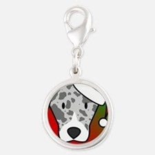 anime_catahoula_ornament Silver Round Charm