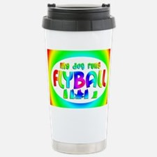 runsflyball_rainbow_oval Travel Mug