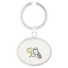 lifeisgreat_bearded_blk Oval Keychain
