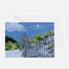 Beach Dune and Fence with Xmas Light Greeting Card