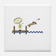lifeisgreat_dockjumping_blk Tile Coaster