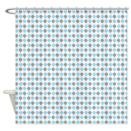 Blue And Gray Retro Pattern Shower Curtain By RetroCulture