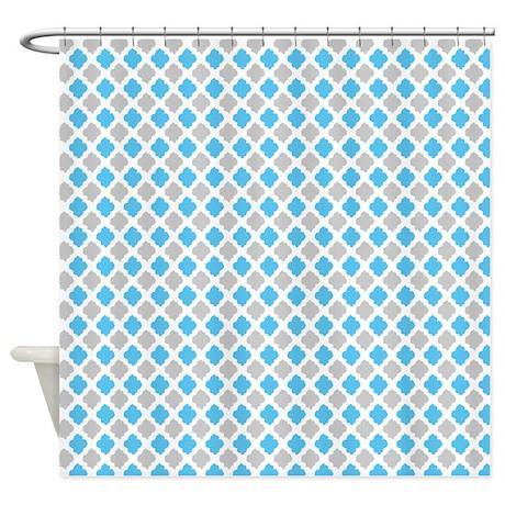 Blue And Gray Quatrefoil Pattern Shower Curtain By RetroCulture