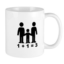 1 + 1 = 3 (graphic of family) Small Mug