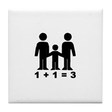 1 + 1 = 3 (graphic of family) Tile Coaster