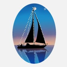 Sails at Sunset Sailboat Silhouette  Oval Ornament