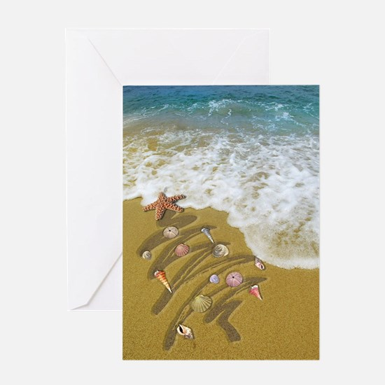 Christmas Seashells and Tree Washed  Greeting Card